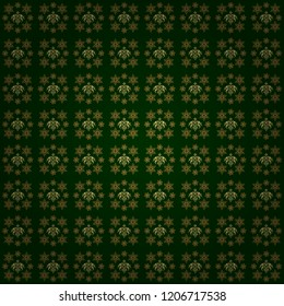 Seamless floral tiling pattern in gold and green colors. Vintage damask ornament.