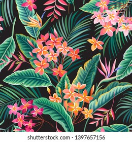 seamless floral tropical pattern, tropical leaves and flowers