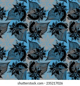 Seamless floral vector background. Hand drawn. Pattern