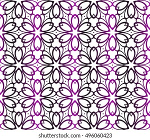 seamless floral vector pattern. abstract ornament. purple gradient. interior decoration, wallpaper, presentation, fashion design