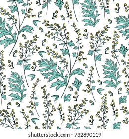 Seamless floral vector pattern Artemisia vulgaris, wormwood common hand drawn colorful illustration isolated on white background, Also called absinthium, Absinthe plant for design cosmetic, textile