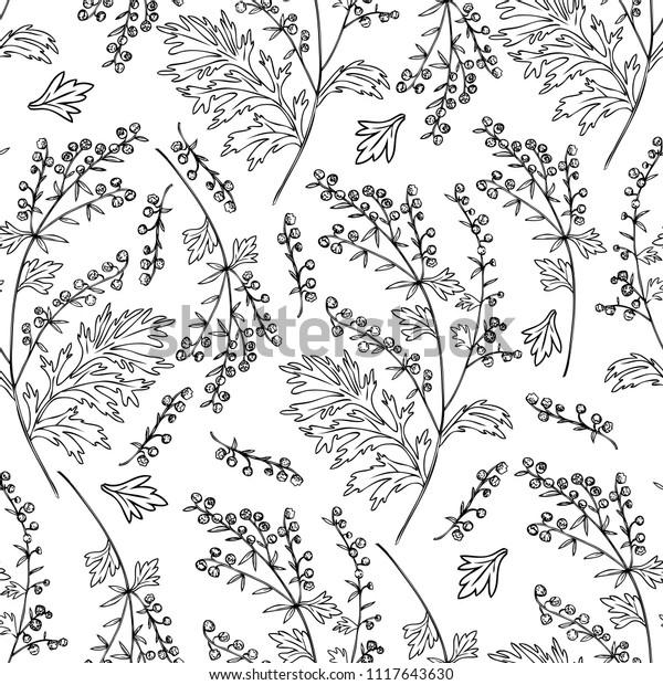 Seamless Floral Vector Pattern Artemisia Vulgaris Stock