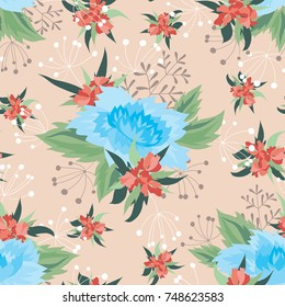 Seamless floral vector pattern, bright colorful bouquets of blue and red flowers
