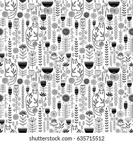 Seamless floral vector pattern with cats
