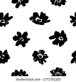 Seamless floral vector pattern with peonies, roses, anemones. Hand drawn black paint illustration with abstract floral motif. Graphic hand drawn brush stroke botanical pattern. Daisy or chamomile.