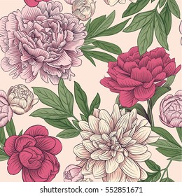 seamless floral vector pattern peony