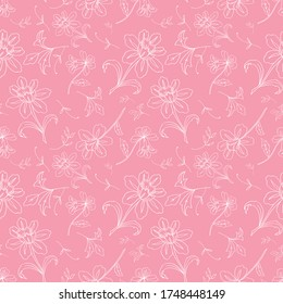 Seamless floral vector pattern with pink branches for decoration, print, textile, fabric prints, postcards, apparel, stationery goods