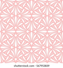 Seamless floral vector pattern. Pink and white background. Graphic modern pattern.