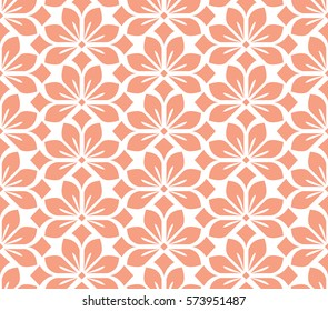 Seamless floral vector pattern. Pink and white background. Graphic modern pattern
