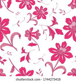 Seamless Floral vector pattern with vintage pink flowers  for decoration, print, textile, stationery, wallpaper
