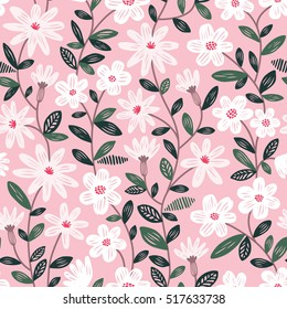 Seamless floral vector pattern with white flowers on pink background