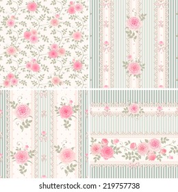 Seamless floral vintage backgrounds and borders. Set of vector striped patterns with pink climbing roses.