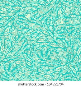 Seamless floral vintage blue doodle pattern with hand drawn plants