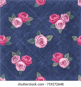 Seamless floral vintage romantic pattern with pink roses on dark blue shabby background. Retro wallpaper style. Shabby chic design. Perfect for scrapbooking