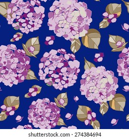 Seamless floral violet hydrangea pattern on a blue background