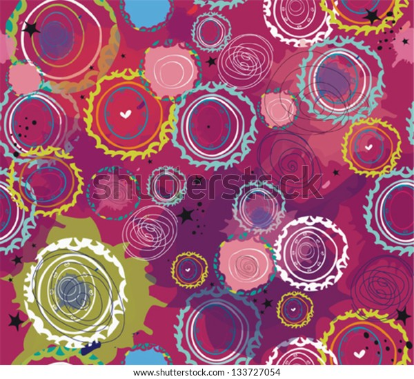 Seamless flower apstract pink red retro background pattern in vector