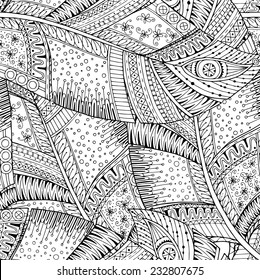 Seamless flower black and white retro background, hand drawn doodle pattern in vector