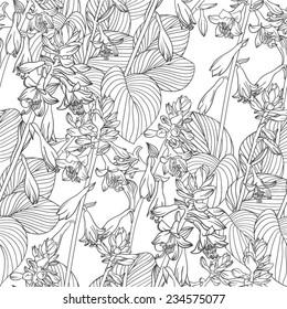 seamless flower black&white vector pattern