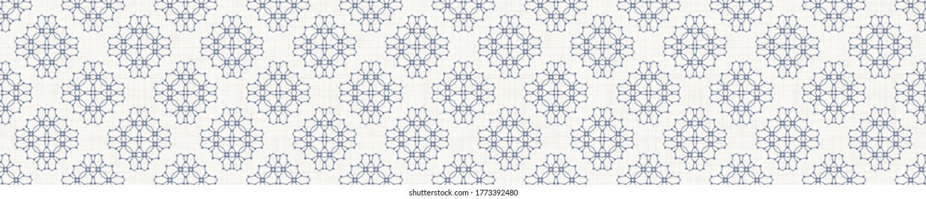Seamless flower border pattern in french blue linen shabby chic style. Hand drawn floral damask texture. Old white blue background. Interior home decor edge bordure. Ornate flourish motif ribbon trim.