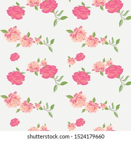 seamless flower with paisley pattern on  white background