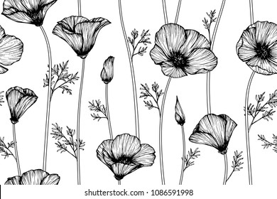 Seamless flower pattern background with California poppy flower and leaf drawing illustration.