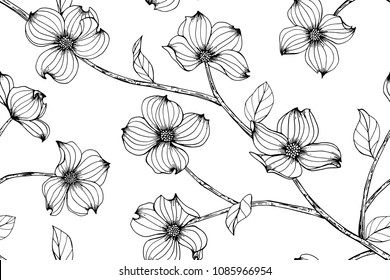 Seamless flower pattern background with Dogwood flower and leaf drawing illustration.