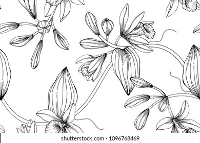 Seamless flower pattern background with Vanilla flower and leaf drawing illustration.