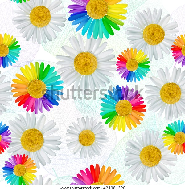 Seamless flower pattern background. White and multicolored daisies, chamomile flowers. Vector illustration, EPS10.