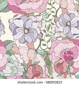 Seamless flower pattern can be used for wallpaper, website background, wrapping paper, invitation, flyer, banner or website. Hand drawn vector illustration of bright elements