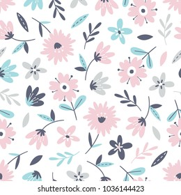 Seamless flower pattern. Flat botanical ornament with minimalistic elements in soft palette. Simple vector repeating texture. Modern swatch. Nature background for textile, print and any your design.