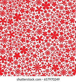 Seamless flower pattern. Flat red little flowers on white background. Cute Vector wedding illustration. Spring romantic wallpaper. Camomile, daisy, forget me not flowers. Red and white.