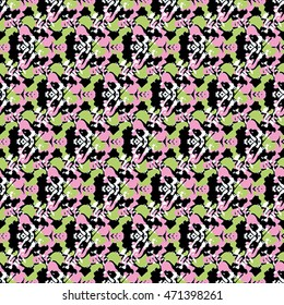Seamless flower pattern with green, pink and white elements on black background