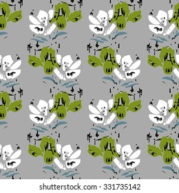 Seamless flower pattern with green and white elements on grey background