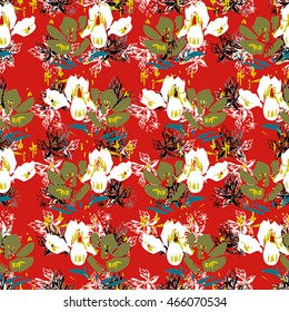Seamless flower pattern with green, yellow, blue, black and white elements on red background