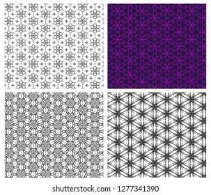 Seamless flower pattern in linear style, vector