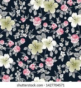 seamless  flower pattern on black