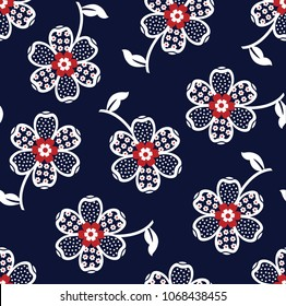 seamless flower pattern on navy background