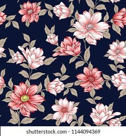 seamless flower pattern on navy