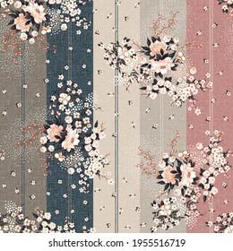 seamless flower Pattern on stripes