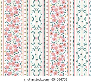 seamless  flower  pattern with vertical stripes. light vector background  for printing on textiles, clothes,  paper, wallpaper