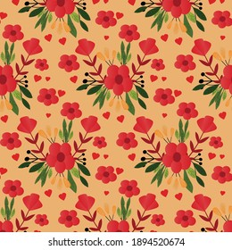seamless Flower pattern with warm color for background. Vector illustration