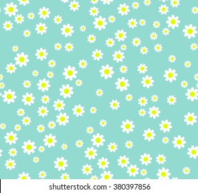 Seamless flower pattern. White daisies on a blue background. Small cute simple spring flowers. Blue background. Gift Wrap. Marguerite.