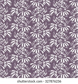 Seamless flower pattern with white elements on lilac background