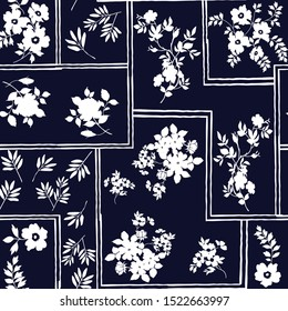 seamless flowers with bandanna pattern on navy background
