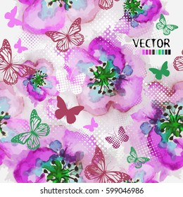 Seamless flowers and butterflies. Vector