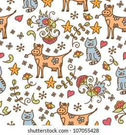 seamless flowers pattern with cat and cow. Can be used for wallpaper, pattern fills, web page background, surface textures, textile.