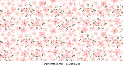 Seamless flowers pattern. Floral background for fashion prints. Design for textile, wallpapers, wrapping, paper. Spring flowery texture. Apple flowers.