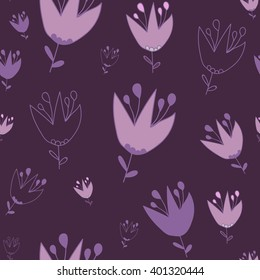 Seamless flowers pattern. Grayish-magenta background. For printing on packaging, bags, cups, laptop, furniture, etc. Vector.