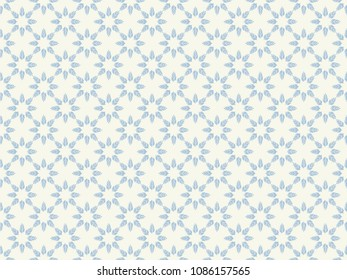 Seamless flowers pattern vector. Design floral modular gradient blue on beige background. Design print for fabric, wallpaper, textile, background. Set 2