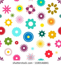 Seamless Flowers Pattern Vector Flat Design Illustration. Colorful Flower Backdrop Suitable for Web Graphic Designs and Prints.